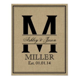 Rustic Faux Burlap Wedding Monogram Poster