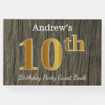 [ Thumbnail: Rustic, Faux Gold 10th Birthday Party; Custom Name Guest Book ]
