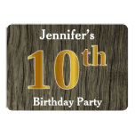 [ Thumbnail: Rustic, Faux Gold 10th Birthday Party; Custom Name Invitation ]