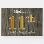 [ Thumbnail: Rustic, Faux Gold 11th Birthday Party; Custom Name Guest Book ]