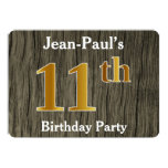 [ Thumbnail: Rustic, Faux Gold 11th Birthday Party; Custom Name Invitation ]