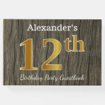 [ Thumbnail: Rustic, Faux Gold 12th Birthday Party; Custom Name Guest Book ]