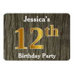 [ Thumbnail: Rustic, Faux Gold 12th Birthday Party; Custom Name Invitation ]