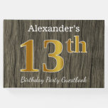 [ Thumbnail: Rustic, Faux Gold 13th Birthday Party; Custom Name Guest Book ]
