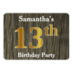 [ Thumbnail: Rustic, Faux Gold 13th Birthday Party; Custom Name Invitation ]