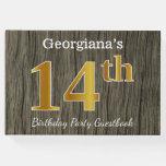 [ Thumbnail: Rustic, Faux Gold 14th Birthday Party; Custom Name Guest Book ]