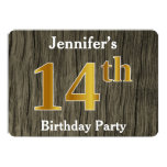 [ Thumbnail: Rustic, Faux Gold 14th Birthday Party; Custom Name Invitation ]