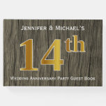[ Thumbnail: Rustic, Faux Gold 14th Wedding Anniversary Party Guest Book ]