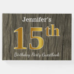 [ Thumbnail: Rustic, Faux Gold 15th Birthday Party; Custom Name Guest Book ]