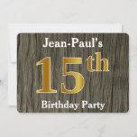 [ Thumbnail: Rustic, Faux Gold 15th Birthday Party; Custom Name Invitation ]