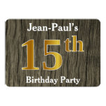 [ Thumbnail: Rustic, Faux Gold 15th Birthday Party; Custom Name Invitation ]