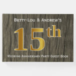 [ Thumbnail: Rustic, Faux Gold 15th Wedding Anniversary Party Guest Book ]