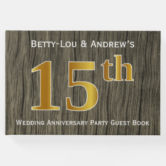 Rustic, Faux Gold 15th Wedding Anniversary Party Guest Book