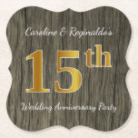 [ Thumbnail: Rustic, Faux Gold 15th Wedding Anniversary Party Paper Coaster ]
