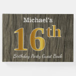 [ Thumbnail: Rustic, Faux Gold 16th Birthday Party; Custom Name Guest Book ]