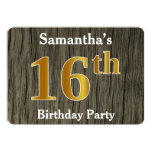 [ Thumbnail: Rustic, Faux Gold 16th Birthday Party; Custom Name Invitation ]