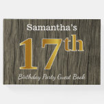 [ Thumbnail: Rustic, Faux Gold 17th Birthday Party; Custom Name Guest Book ]