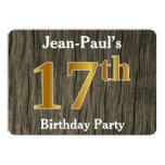 [ Thumbnail: Rustic, Faux Gold 17th Birthday Party; Custom Name Invitation ]