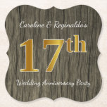 [ Thumbnail: Rustic, Faux Gold 17th Wedding Anniversary Party Paper Coaster ]
