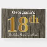 [ Thumbnail: Rustic, Faux Gold 18th Birthday Party; Custom Name Guest Book ]