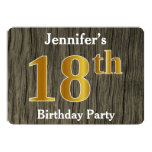 [ Thumbnail: Rustic, Faux Gold 18th Birthday Party; Custom Name Invitation ]