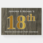 [ Thumbnail: Rustic, Faux Gold 18th Wedding Anniversary Party G Guest Book ]