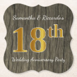 [ Thumbnail: Rustic, Faux Gold 18th Wedding Anniversary Party Paper Coaster ]