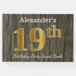 [ Thumbnail: Rustic, Faux Gold 19th Birthday Party; Custom Name Guest Book ]