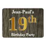 [ Thumbnail: Rustic, Faux Gold 19th Birthday Party; Custom Name Invitation ]