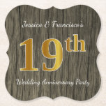 [ Thumbnail: Rustic, Faux Gold 19th Wedding Anniversary Party Paper Coaster ]