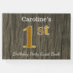 [ Thumbnail: Rustic, Faux Gold 1st Birthday Party + Custom Name Guest Book ]