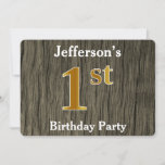 [ Thumbnail: Rustic, Faux Gold 1st Birthday Party; Custom Name Invitation ]
