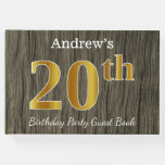 [ Thumbnail: Rustic, Faux Gold 20th Birthday Party; Custom Name Guest Book ]