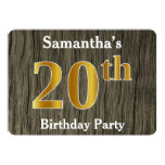 [ Thumbnail: Rustic, Faux Gold 20th Birthday Party; Custom Name Invitation ]