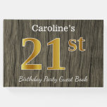 [ Thumbnail: Rustic, Faux Gold 21st Birthday Party; Custom Name Guest Book ]