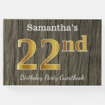 [ Thumbnail: Rustic, Faux Gold 22nd Birthday Party; Custom Name Guest Book ]