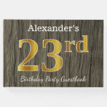 [ Thumbnail: Rustic, Faux Gold 23rd Birthday Party; Custom Name Guest Book ]