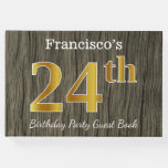 [ Thumbnail: Rustic, Faux Gold 24th Birthday Party; Custom Name Guest Book ]