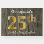 [ Thumbnail: Rustic, Faux Gold 25th Birthday Party; Custom Name Guest Book ]