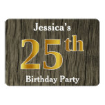 [ Thumbnail: Rustic, Faux Gold 25th Birthday Party; Custom Name Invitation ]