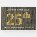 [ Thumbnail: Rustic, Faux Gold 25th Wedding Anniversary Party Guest Book ]