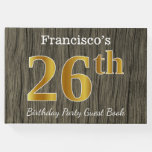 [ Thumbnail: Rustic, Faux Gold 26th Birthday Party; Custom Name Guest Book ]