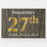 [ Thumbnail: Rustic, Faux Gold 27th Birthday Party; Custom Name Guest Book ]
