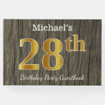 [ Thumbnail: Rustic, Faux Gold 28th Birthday Party; Custom Name Guest Book ]
