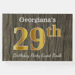 [ Thumbnail: Rustic, Faux Gold 29th Birthday Party; Custom Name Guest Book ]