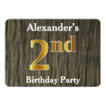 [ Thumbnail: Rustic, Faux Gold 2nd Birthday Party; Custom Name Invitation ]