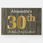 [ Thumbnail: Rustic, Faux Gold 30th Birthday Party; Custom Name Guest Book ]