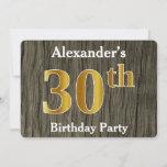 [ Thumbnail: Rustic, Faux Gold 30th Birthday Party; Custom Name Invitation ]
