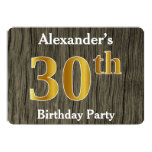 [ Thumbnail: Rustic, Faux Gold 30th Birthday Party; Custom Name Invitation ]
