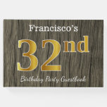 [ Thumbnail: Rustic, Faux Gold 32nd Birthday Party; Custom Name Guest Book ]